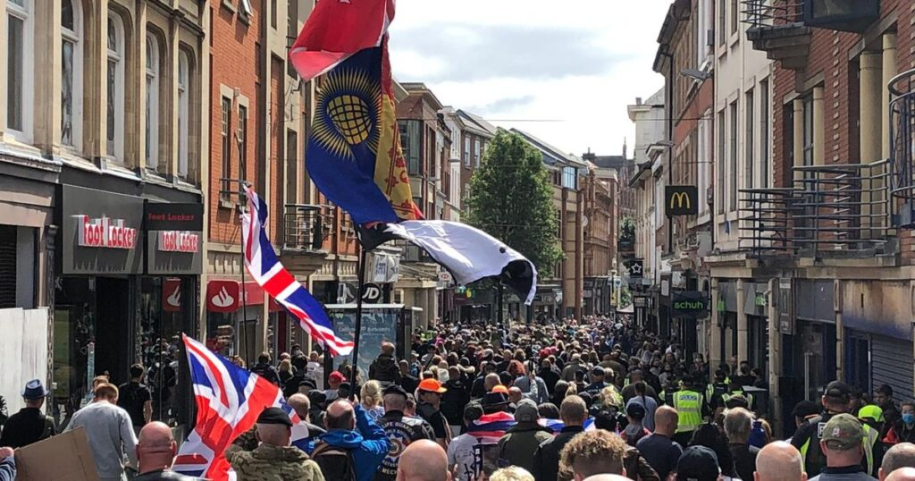 Pro Veterans and Children's Rights Protest March Through Nottingham
