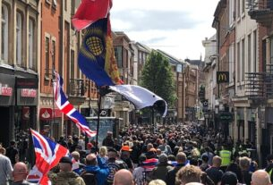 Pro-Veterans and Children's Rights Protesters March Through Nottingham