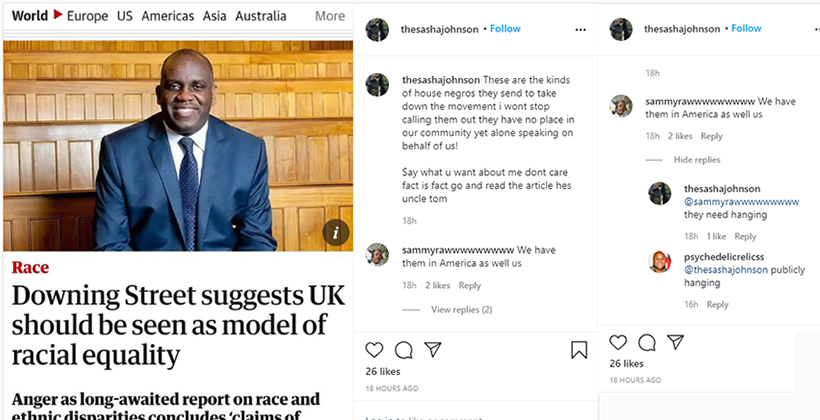 Sasha Johnson BLM UK calls members of the Commission on Race and Ethnic Disparities house negroes after they find that there is NO institutional racism in the Britain.